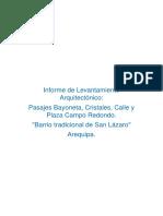 Informe de Levantamiento Arquitectónico san lazaro arequipa