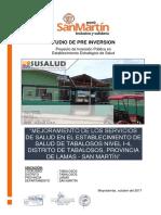 """""""MEJORAMIENTO  DE  LOS  SERVICIOS  DE  SALUD  EN  EL  ESTABLECIMIENTO  DE  SALUD  DE  TABALOSOS  NIVEL  I-4,  DISTRITO  DE  TABALOSOS, PROVINCIA DE LAMAS - SAN MARTÍN""""."""