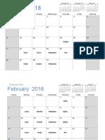 2018 Calendar Light