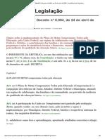 Decreto 6094_07 _ Decreto Nº 6 Plano de Metas Compromisso Todos Pela Educação