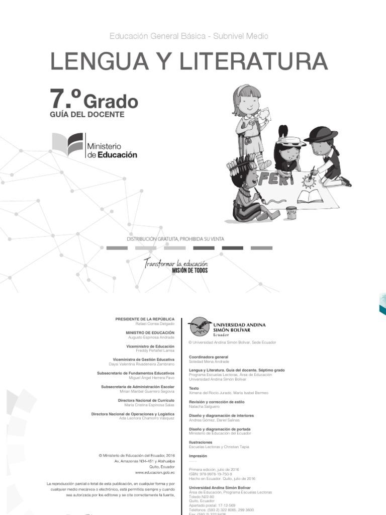 GUIA DEL DOCENTE PARA 7MO DE EGB ECUADOR 2018