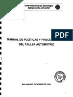 Manual de Politicas y Procedimientos Del Taller Automotriz 2008