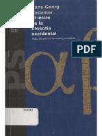 Gadamer Hans-Georg-El Inicio de la Filosofía Occidental-Paidos