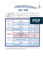 Structura an Scolar Si Calendar 2017-2018