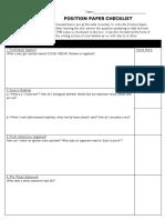 Position Paper Checklist