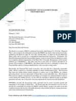 Carta de la Junta sobre el plan fiscal de la AEE