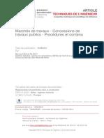 2 Marchés de Travaux - Concessions de Travaux Publics – Procédures Et Contenu