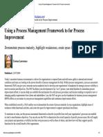 Using a Process Management Framework to for Process Improvement
