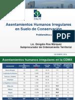 Asentamientos Humanos Irregulares en Suelo de Conservación. Problematica y Planteamientos.