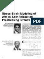 Stress-Strain Modeling of 270 Ksi Low-Relaxation Prestressing Strands