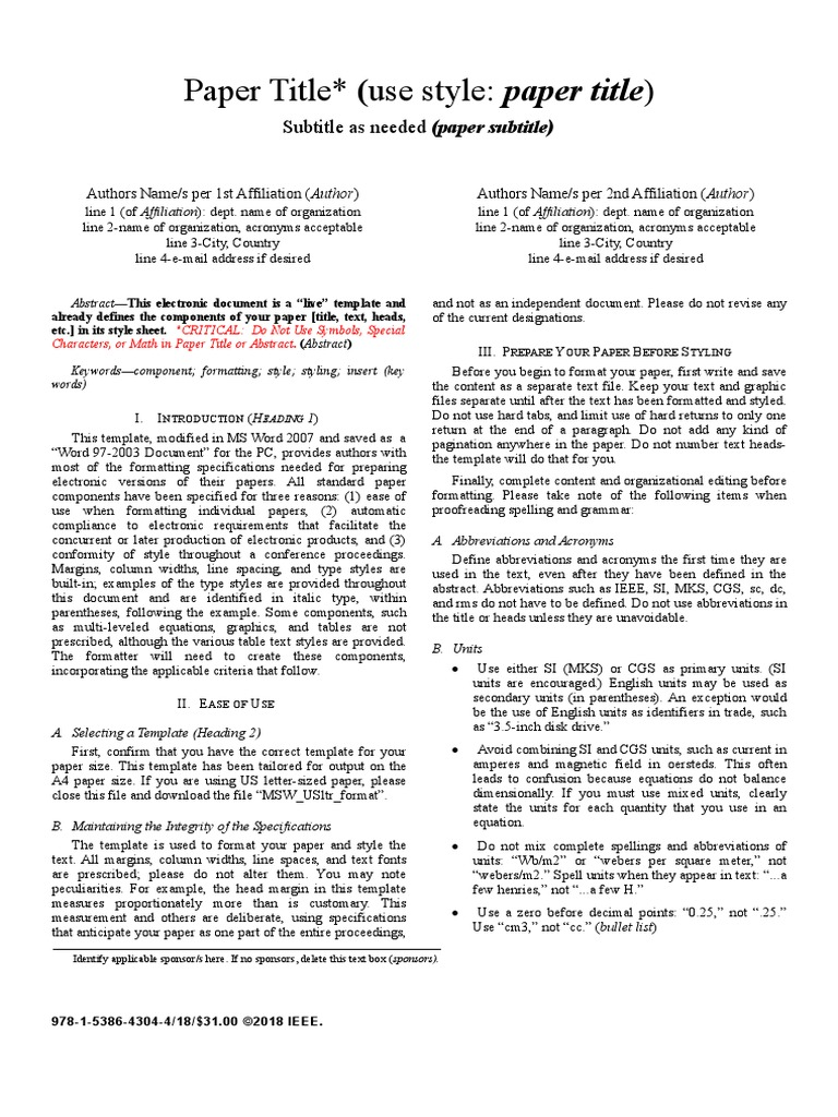 Awesome Ieee Paper Format Template Photos - Example Resume and ...