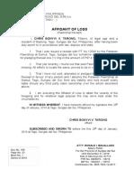Aff. Loss Pawnshop Receipt Palawan