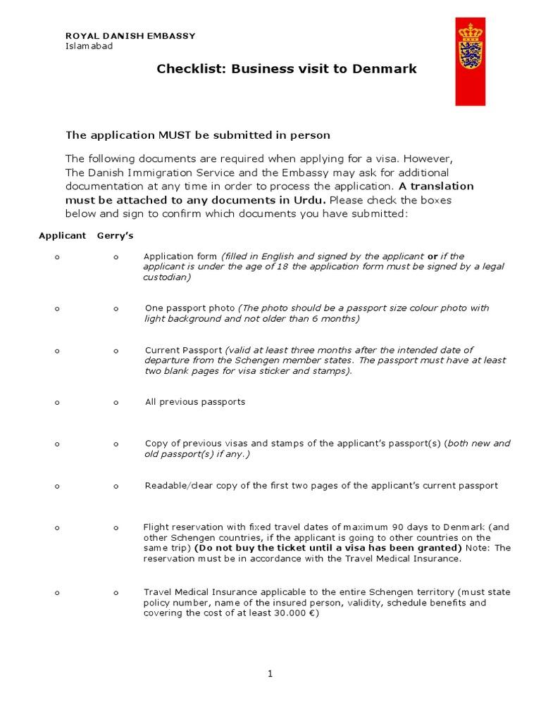 Checklist Business Visa 1 Travel Visa Passport
