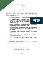 Affidavit of Mutya Wong