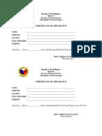 Appearance Certificate