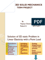 Advanced Solid Mechanics - Solution of 3D static Problem in Linear Elasticity with a Point Load