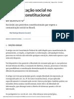 A Comunicação Social No Contexto Constitucional Brasileiro (Constitucional) - Artigo Jurídico - DireitoNet