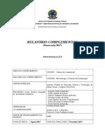 Relatório Complementar - Projeto Programa Ação - Agosto a Dezembro 2017