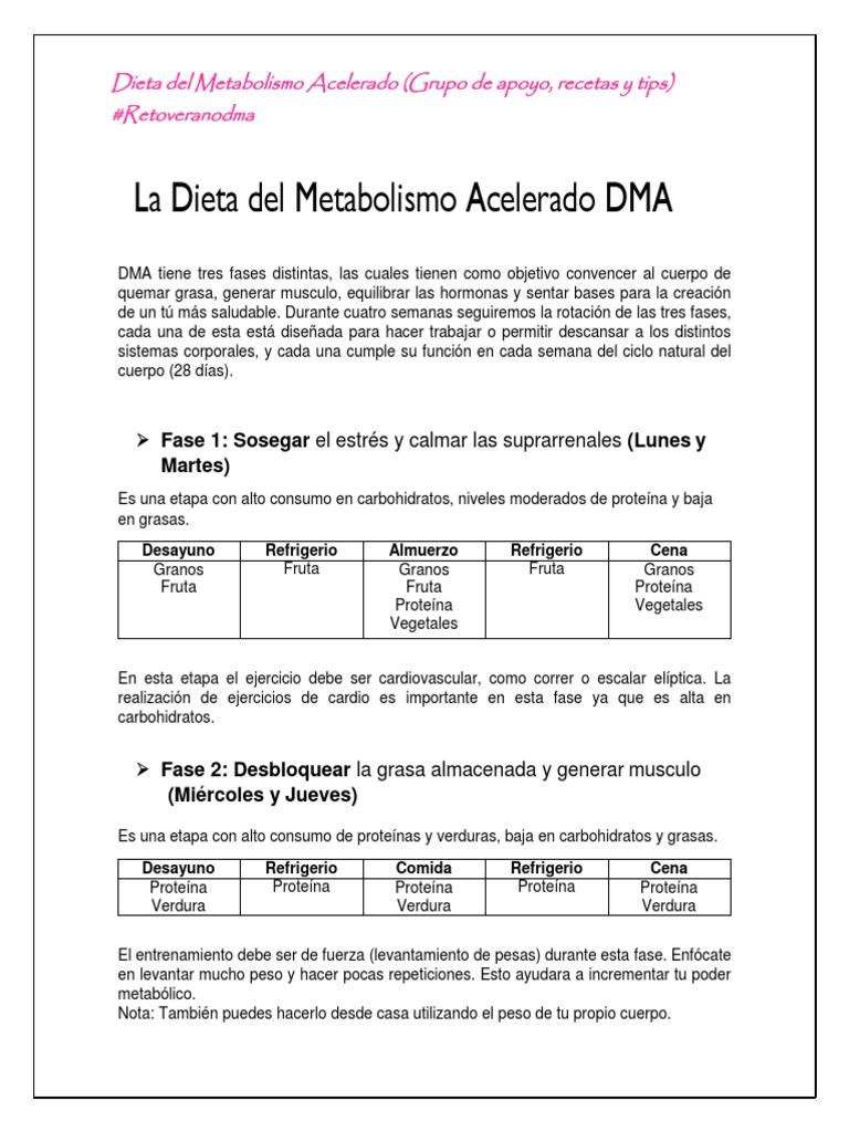 cena fase 1 dieta metabolismo acelerado