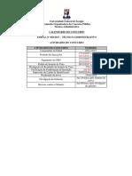 Edital 20 2017 Tecnico Administrativo CALENDARIO Retificado