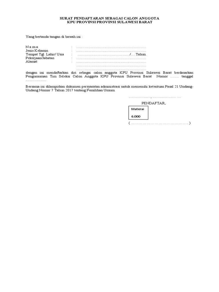 Form Form Pendaftaran Perekrutan Anggota Kpu Provinsi Sulawesi Barat