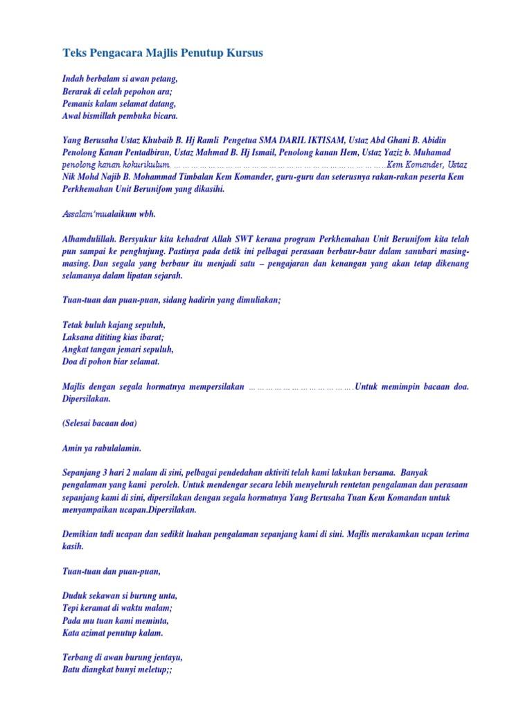 Teks Pengacara Majlis Penutup Kursus