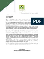 Carta aclaratoria PVEM