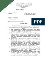 Complaint Letter (Forcible Entry)
