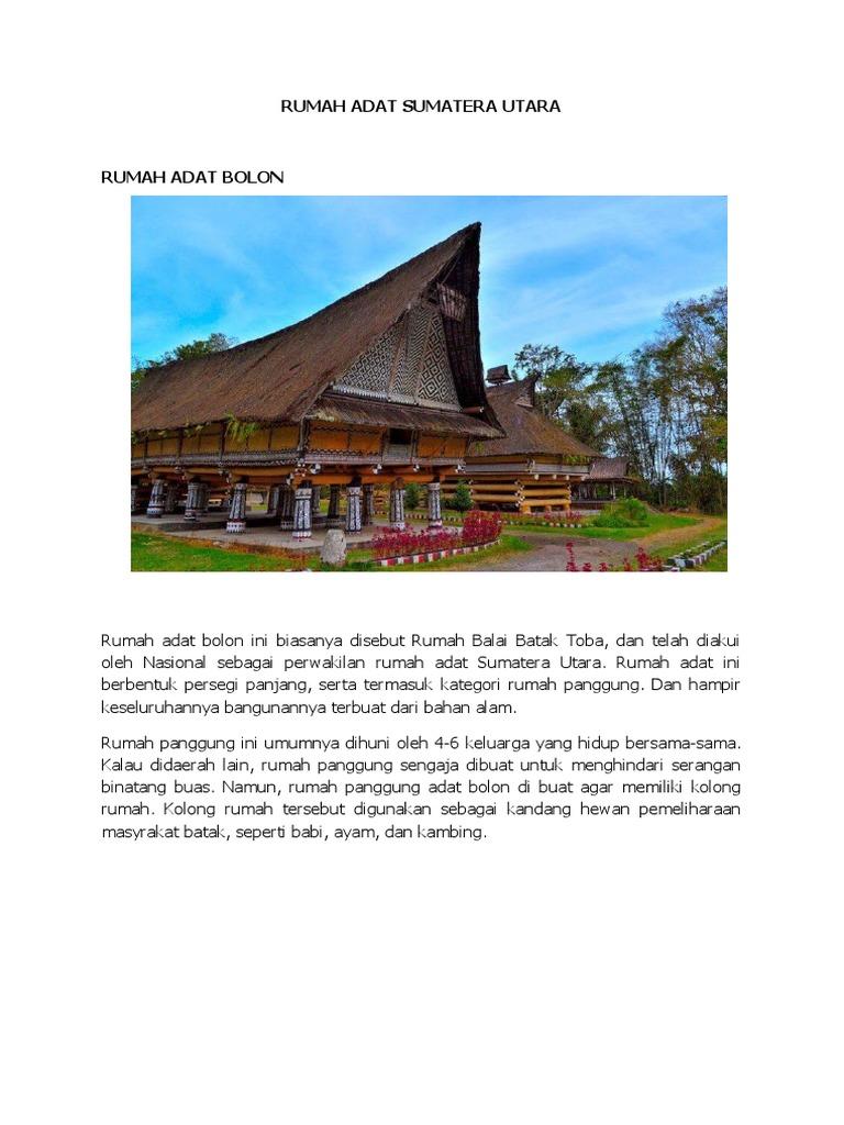 Rumah Adat Sumatera Utara Lengkap Dengan Alat Musik Bahasa Dan Yang Lainnya