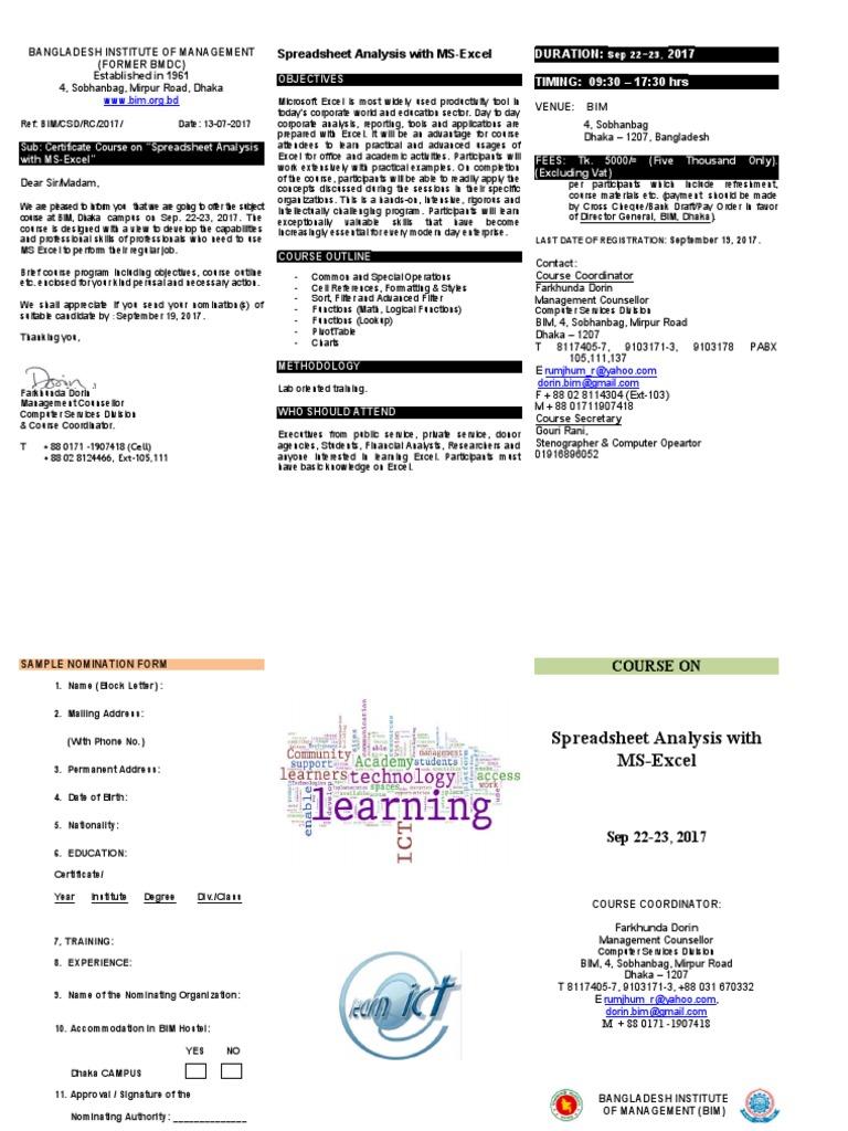 Course Brochure Excel Microsoft Excel Spreadsheet