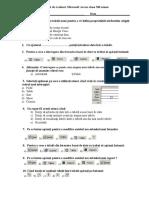 Test de Evaluare Microsoft Access Clasa XII