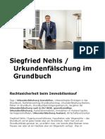 Siegfried Nehls / Urkundenfälschung im Grundbuch
