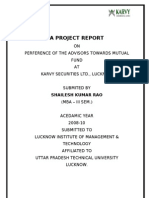 Summer-Trainig Marketing Project Report on Mutual Fund in Karvy