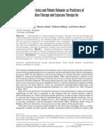 Patient Characteristics and Patient Behavior as Predictors Of