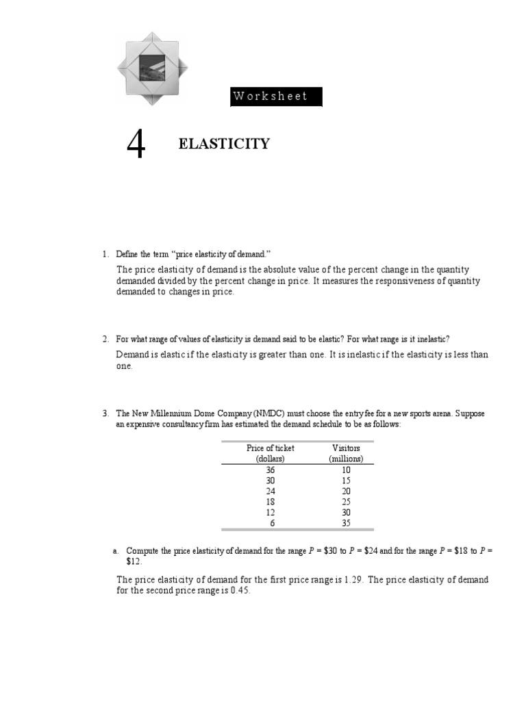 Elasticity Worksheet Price Elasticity Of Demand Demand
