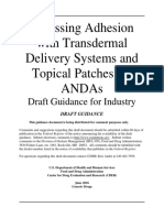 Assessing Adhesion with Transdermal Delivery Systems and Topical Patches for ANDAs Draft June 2016 Generic Drugs.pdf