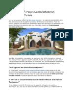 10 Questions À Poser Avant D'Acheter Un Immobilier en Tunisie