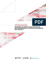 Informe de cierre de los proyectos que integraron la cartera de inversión del PROSAP 3