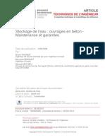 9 Stockage de l'Eau Ouvrages en Béton - Maintenance Et Garanties