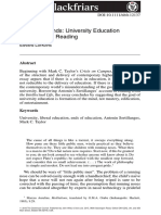 A Crisis of Ends. University Education as a Formative Reading