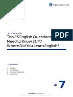 07 Where Did You Learn English