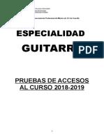 Pruebas de Acceso Guitarra 2018 2019