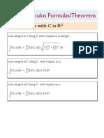 Vector Calculus Formulas/Theorems