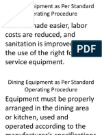 Dining Equipment as Per Standard Operating Procedure