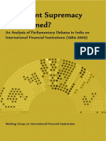 Parliamentary Supremacy Undermined? An Analysis of Parliamentary Debates in India on International Financial Institutions (1984-2009)