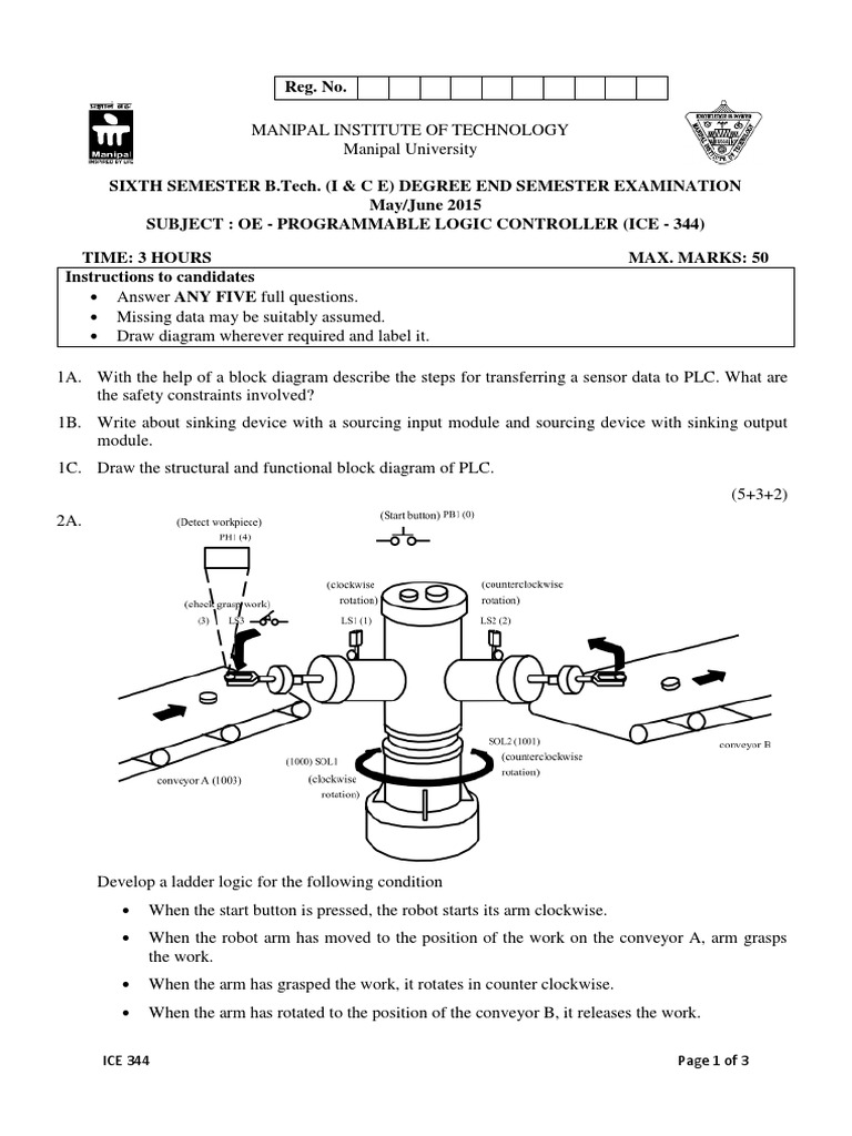 Plc Exam Paper Mit Manipal Programmable Logic Controller Control Diagram Engineering