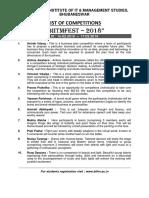 BIITMFEST 2018 -  List of Competitions