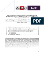 Joint Submission on the Implementation of Human Rights Council Resolution 31/36 through the Establishment of a Database of Businesses Operating in Israeli Settlements