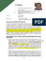 CV Carlos Ruiz Cardenas - Supervisor de Ingeniería Mecánica