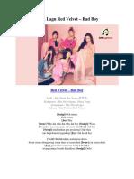 Lirik Lagu Red Velvet – Boy